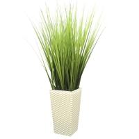 Трава искусственная высокая светло-зеленая в высоком кашпо 110 см