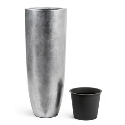 Кашпо TREEZ Effectory Metal высокий конус Giant серебро 120 см - Фото 2