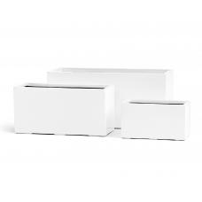 Кашпо TREEZ Effectory Gloss низкий узкий прямоугольник белый глянцевый лак от 22 до 37 см