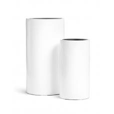 Кашпо TREEZ Effectory серия Gloss высокий цилиндр белый глянцевый лак от 60 до 80 см
