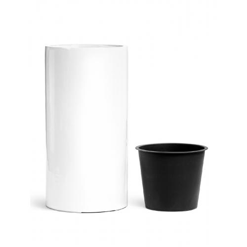 Кашпо TREEZ Effectory серия Gloss высокий цилиндр белый глянцевый лак от 60 до 80 см - Фото 2