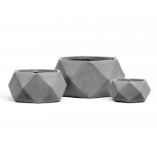 Кашпо TREEZ ERGO Rombo низкая чаша многогранник светло-серый камень от 15 до 28 см