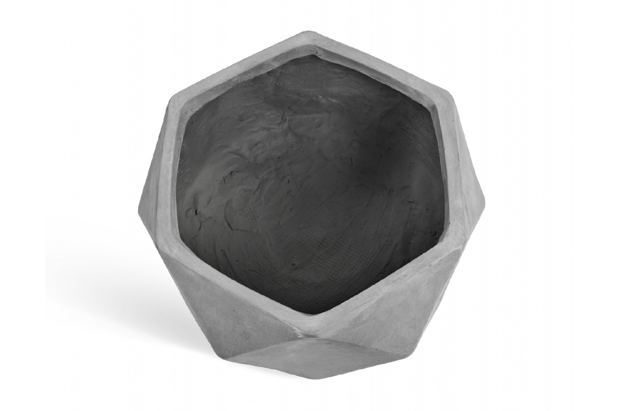Кашпо TREEZ ERGO Rombo низкая чаша многогранник светло-серый камень от 15 до 28 см - Фото 4