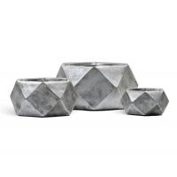 Кашпо TREEZ ERGO Rombo низкая чаша многогранник застаренное серебро от 15 до 28 см