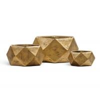 Кашпо TREEZ ERGO Rombo низкая чаша многогранник застаренное золото от 15 до 28 см