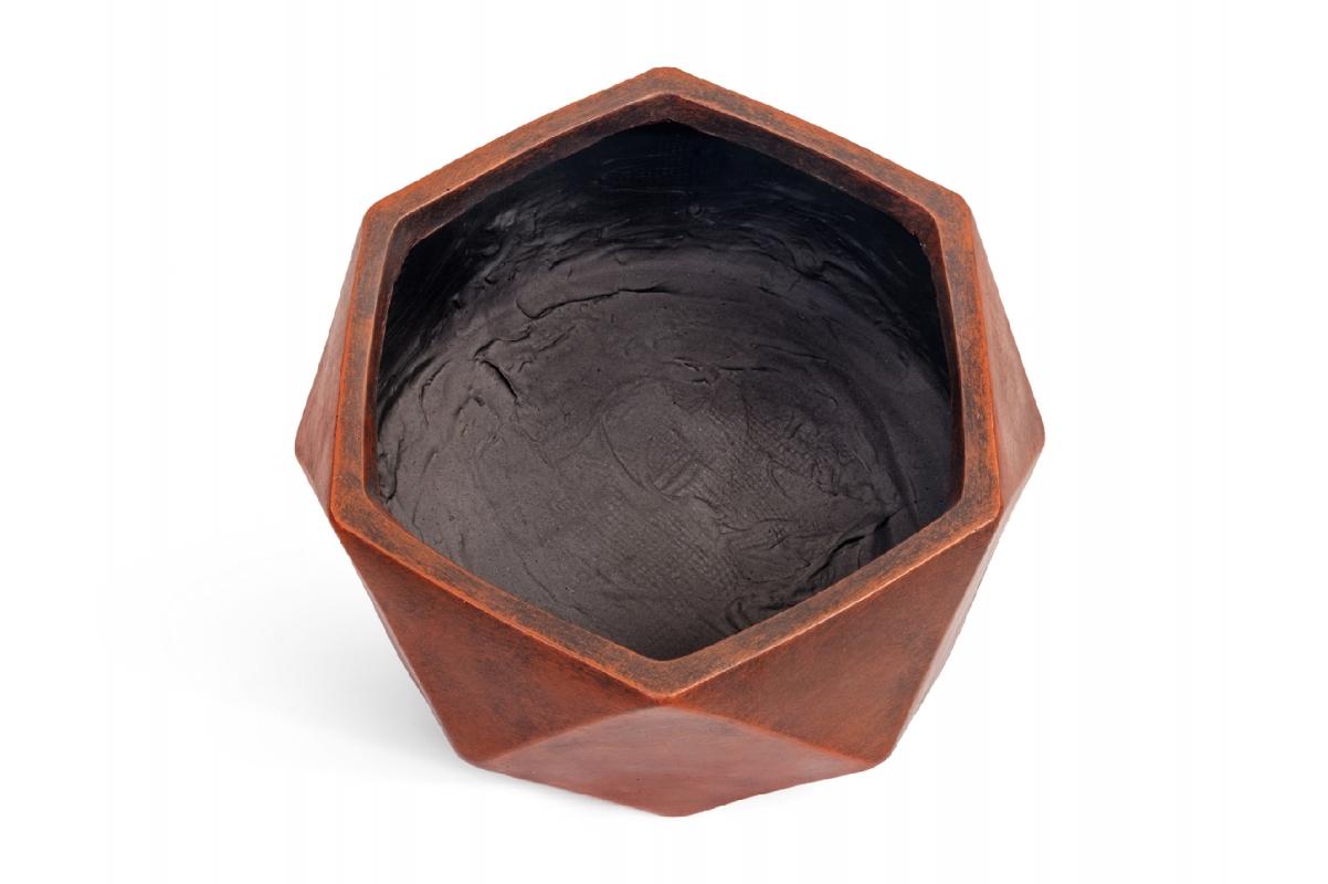 Кашпо TREEZ ERGO Rombo низкая чаша многогранник застаренная медь от 15 до 28 см - Фото 2