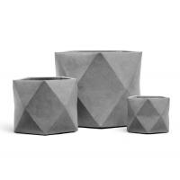 Кашпо TREEZ ERGO Rombo многогранник светло-серый камень от 20 до 44 см