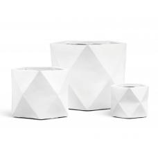 Кашпо TREEZ ERGO Rombo многогранник белый камень от 20 до 44 см