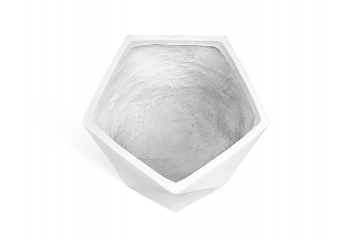Кашпо TREEZ ERGO Rombo многогранник белый камень от 20 до 44 см - Фото 2