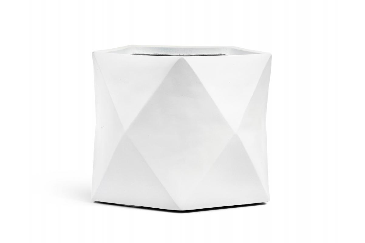 Кашпо TREEZ ERGO Rombo многогранник белый камень от 20 до 44 см - Фото 3