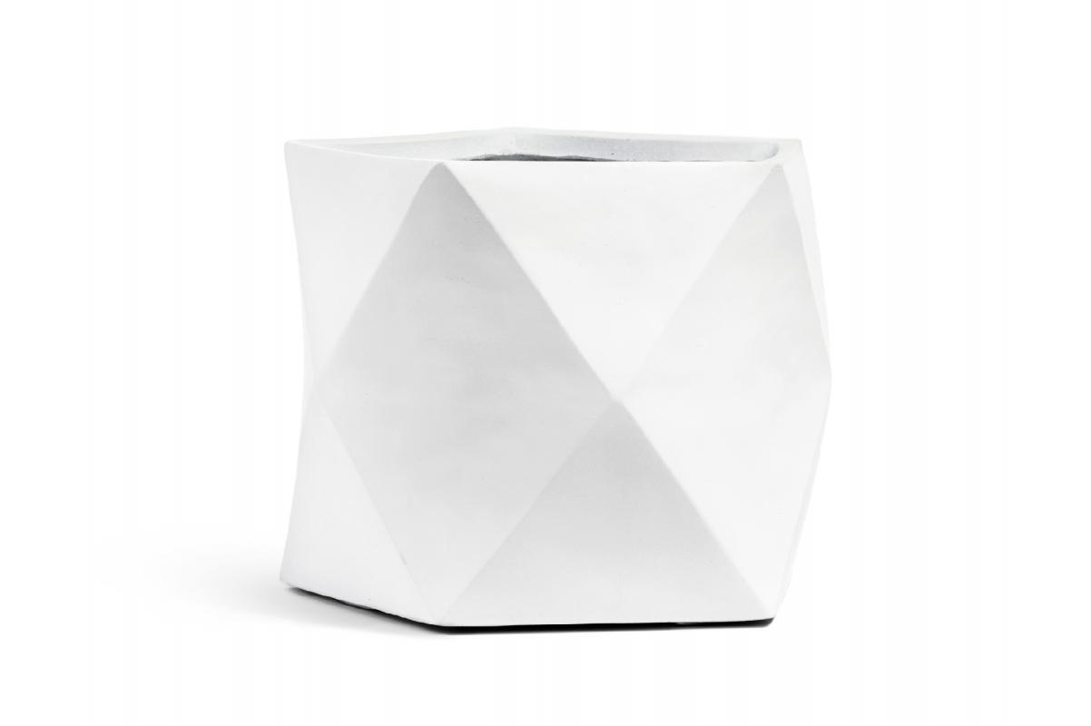 Кашпо TREEZ ERGO Rombo многогранник белый камень от 20 до 44 см - Фото 5