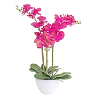 Композиция Орхидея Фаленопсис 3 ветки искусственная розовая в кашпо piano 70 см