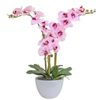 Композиция Орхидея Фаленопсис 3 ветки искусственная бело-розовая в кашпо piano 70 см