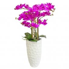 Орхидея Фаленопсис 5 веток искусственная фиолетовая в высоком кашпо 99 см