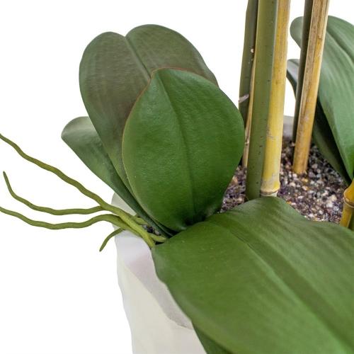 Орхидея Фаленопсис 5 веток искусственная фиолетовая в высоком кашпо 99 см - Фото 2