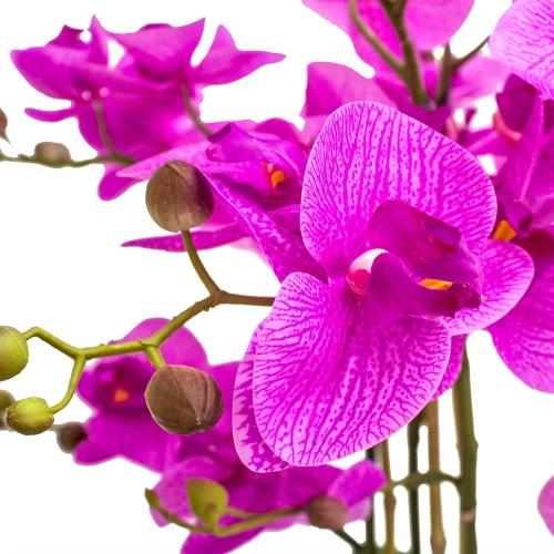 Орхидея Фаленопсис 5 веток искусственная фиолетовая в высоком кашпо 99 см - Фото 4