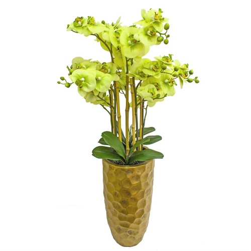Орхидея Фаленопсис 5 веток искусственная зеленая в высоком кашпо 99 см