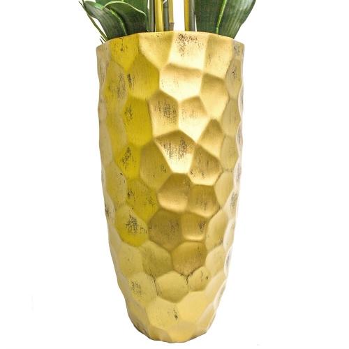 Орхидея Фаленопсис 5 веток искусственная зеленая в высоком кашпо 99 см - Фото 2