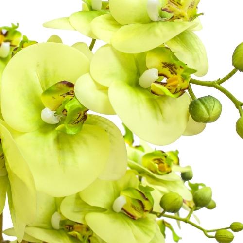 Орхидея Фаленопсис 5 веток искусственная зеленая в высоком кашпо 99 см - Фото 3