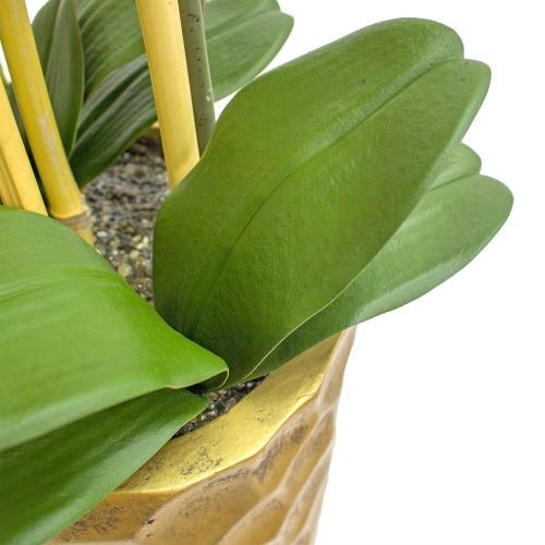 Орхидея Фаленопсис 5 веток искусственная зеленая в высоком кашпо 99 см - Фото 4