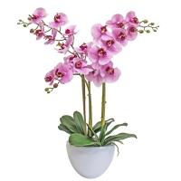Композиция Орхидея Фаленопсис 3 ветки искусственная светло-сиреневый в кашпо piano 70 см