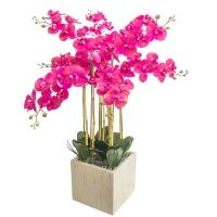 Орхидея Фаленопсис 7 веток искусственная фуксия в керамическом кашпо куб 100 см