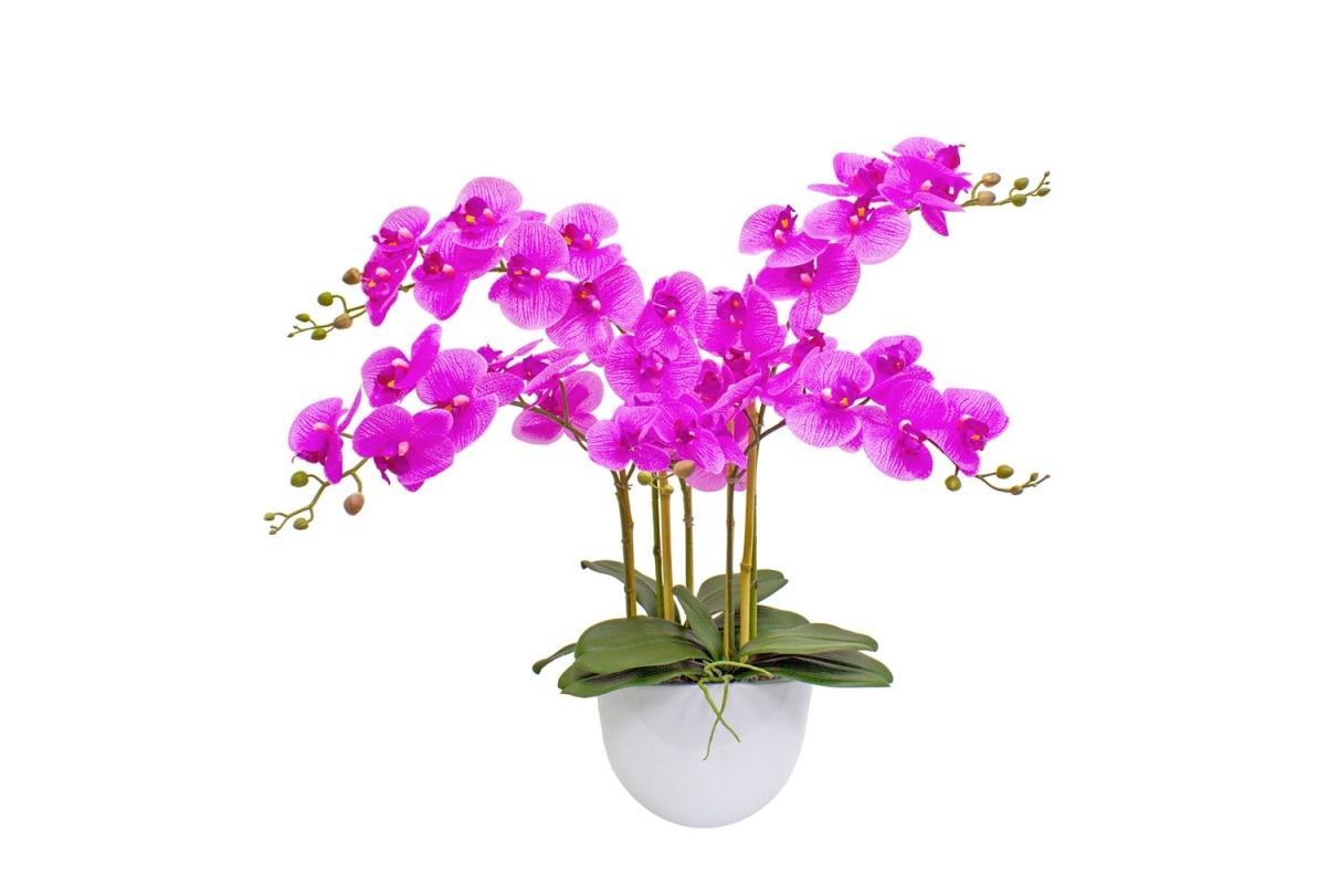 Композиция Орхидея Фаленопсис 5 веток искусственная сиреневая в кашпо piano 66 см