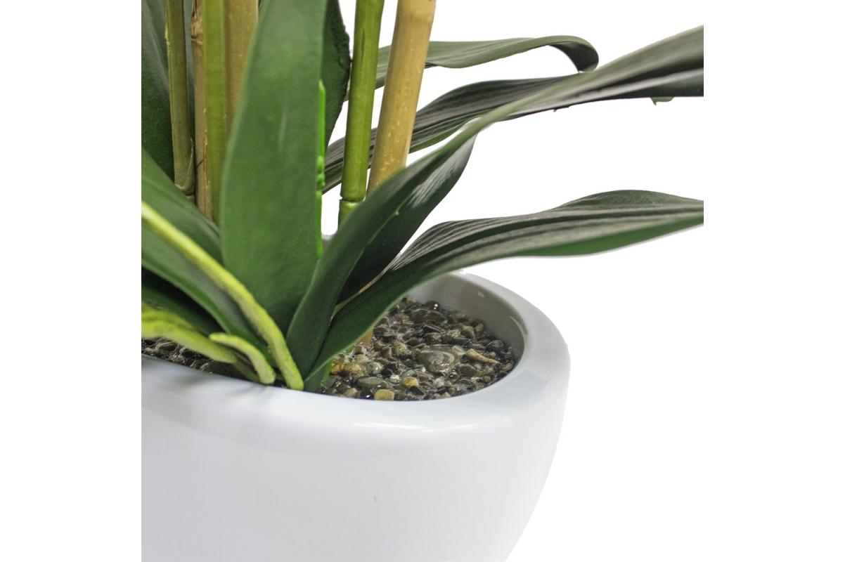 Композиция Орхидея Фаленопсис 5 веток искусственная сиреневая в кашпо piano 66 см - Фото 2
