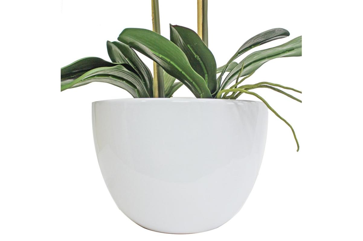 Композиция Орхидея Фаленопсис 5 веток искусственная сиреневая в кашпо piano 66 см - Фото 3