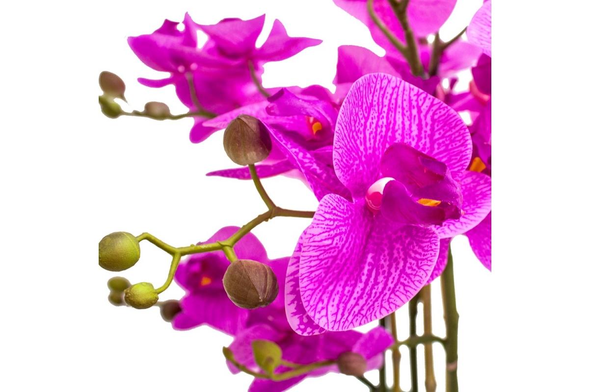 Композиция Орхидея Фаленопсис 5 веток искусственная сиреневая в кашпо piano 66 см - Фото 4