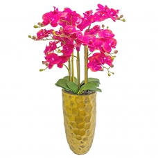 Орхидея Фаленопсис 5 веток искусственная розовая в высоком кашпо 97 см