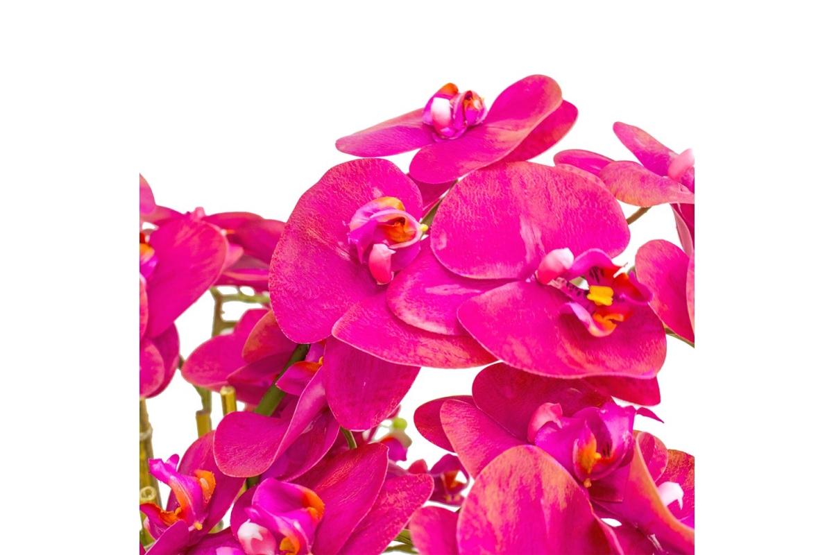 Орхидея Фаленопсис 5 веток искусственная розовая в высоком кашпо 97 см - Фото 4