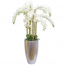 Орхидея Фаленопсис 9 веток искусственная белая в кашпо 150 см