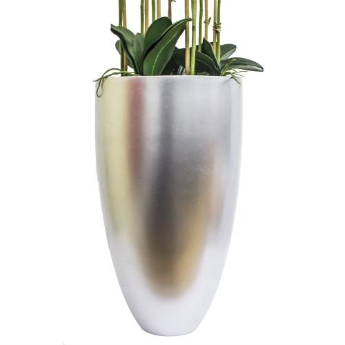 Орхидея Фаленопсис 9 веток искусственная белая в кашпо 150 см - Фото 2