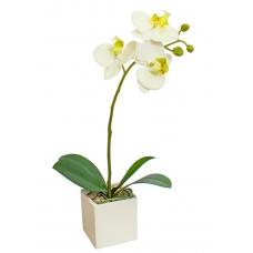 Орхидея Фаленопсис 1 ветка искусственная белая в фарфоровом кашпо 50 см