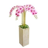 Орхидея Фаленопсис 5 веток искусственная светло-розовая в высоком керамическом кашпо 140 см