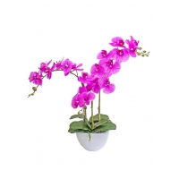 Композиция Орхидея Фаленопсис 3 ветки искусственная сиреневая в кашпо piano 70 см