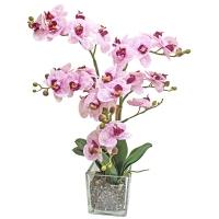 Орхидея Фаленопсис 3 ветки искусственная бело-фиолетовая в стеклянном кубе 66 см