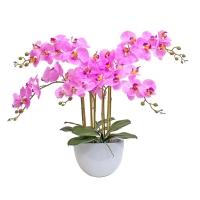 Композиция Орхидея Фаленопсис 5 веток искусственная розовая в кашпо piano 66 см