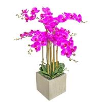 Орхидея Фаленопсис 7 веток искусственная сиреневая в керамическом кашпо куб 100 см