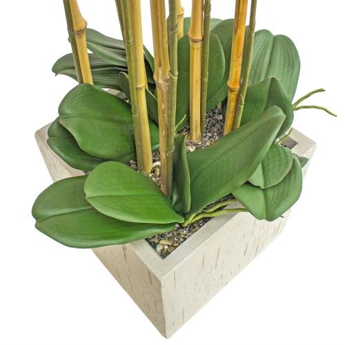 Орхидея Фаленопсис 7 веток искусственная сиреневая в керамическом кашпо куб 100 см - Фото 2