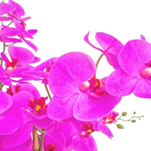Орхидея Фаленопсис 7 веток искусственная сиреневая в керамическом кашпо куб 100 см - Фото 4