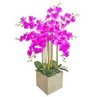 Орхидея Фаленопсис 7 веток искусственная фиолетовая в керамическом кашпо куб 100 см