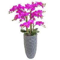 Орхидея Фаленопсис 5 веток искусственная сиреневая в высоком кашпо 93 см