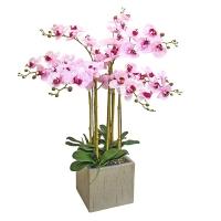 Орхидея Фаленопсис 7 веток искусственная бело-розовая в керамическом кашпо куб 100 см