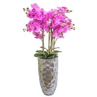 Орхидея Фаленопсис 5 веток искусственная сиреневая в высоком кашпо 96 см