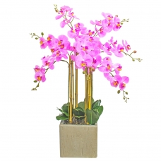 Орхидея Фаленопсис 7 веток искусственная свело-розовая в керамическом кашпо куб 100 см