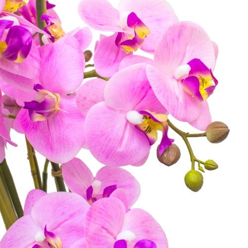 Орхидея Фаленопсис 7 веток искусственная свело-розовая в керамическом кашпо куб 100 см - Фото 2