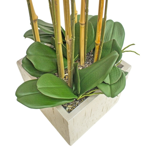 Орхидея Фаленопсис 7 веток искусственная свело-розовая в керамическом кашпо куб 100 см - Фото 3
