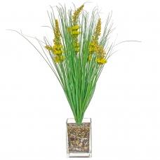 Трава с соцветиями искусственная зелено-желтая в стеклянной вазе 62 см